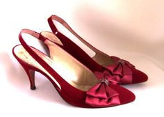 VINTAGE SHOES 1950s Ruby Red by PursonalBaggage2 on Etsy, $43.00