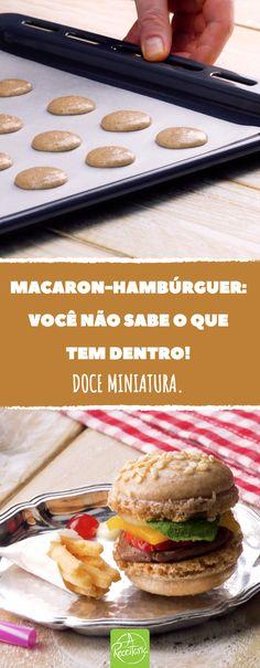 Já pensou em fazer um macaron-hambúrguer? Você vai se apaixonar por esta receita...  #receita #receitaria #macaron #macarron #doce #docefrances #sobremesa #franca #hamburguer #miniatura #criatividade #receitaoriginal