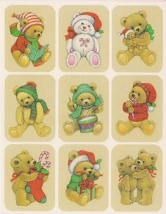 Vintage CHRISTMAS BEARS STICKER SHEET BY EUREKA Christmas Teddy Bear, Christmas Holidays, Christmas Ideas, Santa Claus Toys, Vintage Christmas Images, Christmas Cartoons, Paper Magic, Vintage Winter, Love Stickers