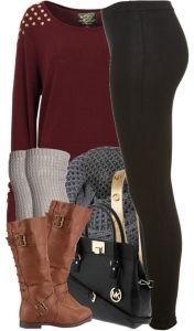 #fall #outfits / Burgundy Longsleeve + Tall Boots