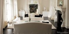living rooms - White living room chandelier drapery puddle dark wood floor Chic French Living Room White living room with dark floors. All White Room, Living Room White, White Rooms, White Walls, White Rug, White White, White Ceiling, White Chairs, White Silk