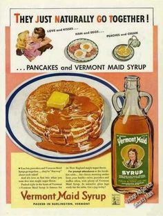 Pancakes & Vermont Maid Syrup Burlington Vt (1942) Vintage Ad