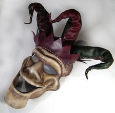 Handmade Leather Jester Mask or could be Wall Art by Shadows-Ink