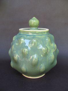 KMars Ceramics- Warm Green Tickle jar