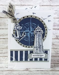 Stampin Up Karten, Stampin Up Cards, Birthday Cards For Men, Man Birthday, Nautical Cards, Ocean Themes, Masculine Cards, Diy Crafts Videos, Stamping Up