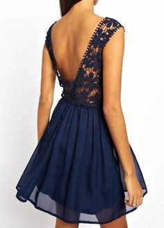 Blue Sleeveless Backless Embroidered Lace Dress