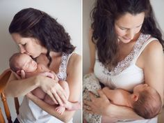 2 photos of a new mum holding her brand new baby and kissing him with love