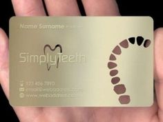 It is one of best and stylish business card template from metal business cards. It has golden colour background. It has logo of teeth. Dental Clinic Logo, Dentist Logo, Dentist Clinic, Dental Business Cards, Die Cut Business Cards, Dental Art, Dental Office Design, Office Designs, Dental Posters