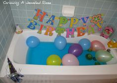 For younger kids, decorate the bathtup for a birthday bath! Turning Bath Time Into Party Time #birthday #traditions