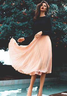 Pink Plain Draped Loose Elastic Waist Casual Long Skirt