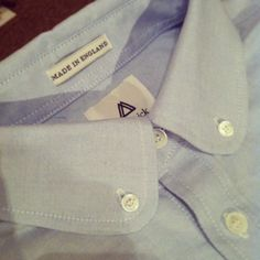Mamnick - Clough shirt in sky. 100% cotton, Made in England