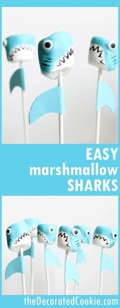 Shark marshmallow pops for shark week, a fun summer food idea. - - Shark marshmallow pops are a fun food idea for Shark Week, and a great summer party food idea. Marshmallows, candy melts, and food coloring pens. Shark Birthday Cakes, Birthday Cupcakes, Birthday Party Themes, Boy Birthday, Husband Birthday, Birthday Ideas, Shark Cake Pops, Shark Cupcakes, Shark Cookies