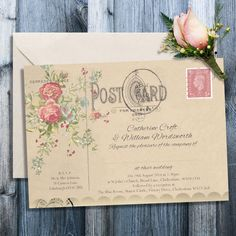 Floral vintage postcard wedding invitation weddings wedding and personalised wedding invitations vintage red rose postcard design with envelopes stopboris Image collections