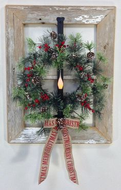 Christmas DIY: Old Window Holiday W Old Window Holiday Wreath Idea diy handmade gift crafts step by step homemade projects arts & crafts christmas gifts gift ideas. Homemade Christmas Decorations, Christmas Crafts For Gifts, Xmas Decorations, Christmas Projects, Christmas Ornaments, Gift Crafts, Diy Decoration, Candles In Windows Christmas, Christmas Tree