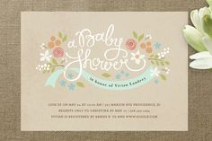 Rustic Ribbons and Flora Baby Shower Invitations... | Minted