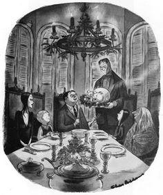 Addams Family by Charles Addams Addams Family Cartoon, The Addams Family 1964, Addams Family Tv Show, Adams Family, Family Thanksgiving, Family Christmas, Dark Christmas, Christmas Decor, Christmas Cards