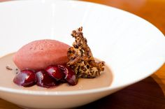 Jenny McCoy, Craft: Milk Chocolate Panna Cotta, Cacao Nib Tuile, Cherry Cola Sorbet, and Sauteed Cherries