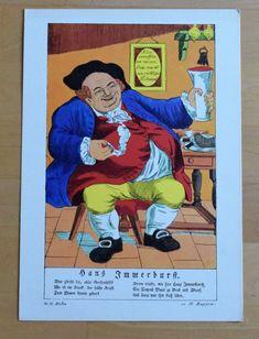 Hans Immerdurst - Karikatur Humor - Druck 70er Jahre Reproduktion Art Print Humor, Baseball Cards, Ebay, Art Print, Printing, Pictures, Humour, Funny Photos, Funny Humor