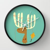 Wall Clocks featuring A moose ing by Budi Kwan