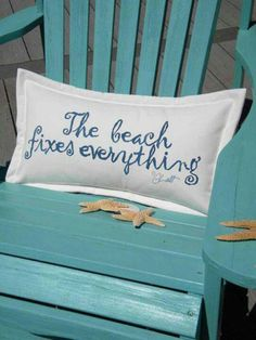 """The cure for anything is salt water -- sweat, tears, or the sea."" The beach fixes everything! Cute pillow for a beach house. Coastal Living, Coastal Decor, Coastal Cottage, Coastal Style, Maine Cottage, Cottage Living, Living Room, I Need Vitamin Sea, Cap Ferret"