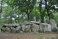 Side of Dolmen Mané-Groh;  Plouharnel, Brittany, France;  this dolmen has two pairs of side chambers;  photo by Drriss, via Flickr