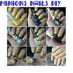 might do this for Grayson. Minion Nail Art, Stuff To Do, Random Stuff, Girls Nails, Diy Nails, Minions, Nail Designs, Nail Polish, Hands