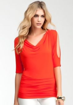 bebe Cold Shoulder Lace Back Top Knit Tops Fiery Red-l