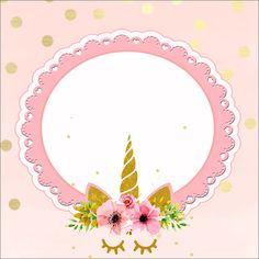 Fiestas Personalizadas Imprimibles: Kit imprimibles de unicornio rosa con dorado 9th Birthday, Unicorn Birthday, Unicorn Party, Baby Shower Unicornio, Animal Line Drawings, Unicorn Cookies, Unicorn Printables, Baby Shawer, Baby Girl Shower Themes