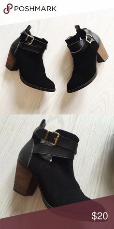 black cutout booties with buckle black faux suede cutout strappy booties with gold buckle and wood heel. size 7. worn once. Mossimo Supply Co Shoes Ankle Boots & Booties