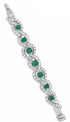 AN EMERALD AND DIAMOND BRACELET, BY C.D. PEACOCK Set with a graduated series of emeralds, to the circular and baguette-cut diamond scalloped band, circa 1955. Christie's.