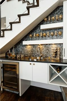Wine Bar Under Stairs Design, Pictures, Remodel, Decor and Ideas file it under top priority Bar Under Stairs, Open Basement Stairs, Space Under Stairs, Open Stairs, Floating Stairs, Basement Ceilings, Basement Bars, Basement Storage, Home Stairs Design
