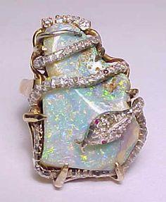 HUGE VINTAGE REAL 14K GOLD+NATURE AUSTRALIAN OPAL&1/3carat DIAMONDS SNAKE RING