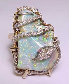 HUGE VINTAGE REAL 14K GOLD+NATURE AUSTRALIAN OPAL&1/3carat DIAMONDS SNAKE RING