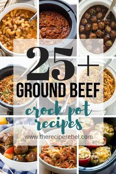 These Ground Beef Crock Pot recipes are a great way to spice up your weekday meals! Easy slow cooker recipes to use up that ground beef you've got lying around ;) pot meals with ground beef Hamburger Crockpot Recipes, Slow Cooker Recipes, Cooking Recipes, Slow Cooker Ground Beef, Healthy Ground Beef, Slow Cooker Minced Beef, Minced Beef Recipes, Ground Meat, Chicken Honey