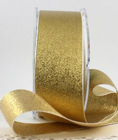 "Gold Metallic Ribbon, 1.5"" wide Ribbon by the yard, Weddings, Christmas Ribbon, Gold Ribbon, Gift Wrapping, Invitations, Home Decor, Crafts"