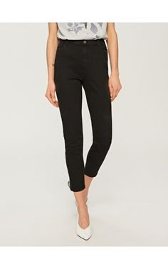 High-waisted trousers, Trousers, black, RESERVED