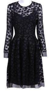 Black Sheer Shoulder Long Sleeve Flowers Embellished Dress
