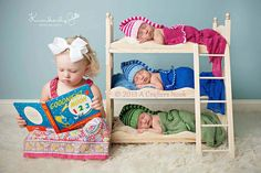 SERIOUSLY SO CUTE!!  DIY Small Whimsical Triple Doll Bed Bunk Bed and Ladder Newborn Photography Prop Triplets
