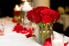 Simple Rose Centerpiece #wedding