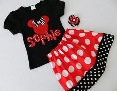 3 piece outfit  shirt with red Minnie zebra print by LuvThatLook, $57.00