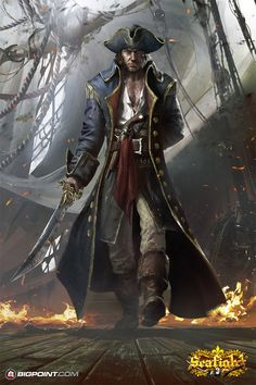 Pirate - D&D Character Inspiration Dnd Characters, Fantasy Characters, Fantasy Rpg, Dark Fantasy, Character Portraits, Character Art, Arte Assassins Creed, Bateau Pirate, Space Pirate