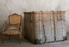 Antique basket from a hot air balloon.