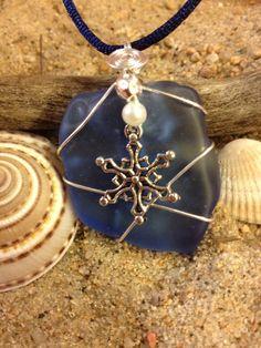 383 Snowflake on blue seaglass
