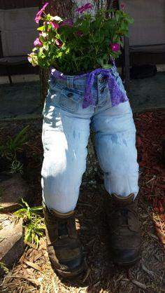 Blue jean flower planter