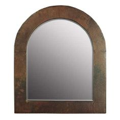 "Sedona Arch Mirror -- Beveled edge glass. Hand hammered copper. Hand crafted. Post-consumer recycled copper. Width: 22"" Depth: 26"" Finish: Antique Copper"