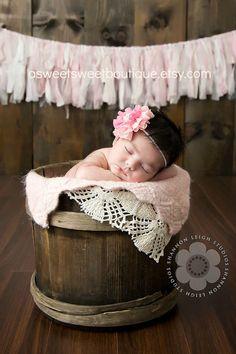 Pink Baby Headband Newborn Headband Baby Girl Headband Vintage Headband Double Layer Chiffon Flower Headband With Pearl Embellishment