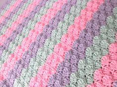 Crochet Baby Blanket Pastel Baby Girl by JadesClosetBlankets