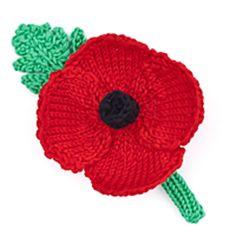 Ravelry: Poppy Appeal (Knitting) pattern by Tina Egleton Knitted Poppy Free Pattern, Leaf Knitting Pattern, Knitted Flower Pattern, Knitting Stiches, Knitting Patterns Free, Crochet Patterns, Free Knitting, Knitted Poppies, Knitted Flowers