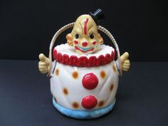 VINTAGE CLOWN COOKIE JAR with ORIGINAL RATTAN HANDLE, PAPER LABEL JAPAN