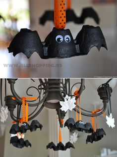 Egg carton bats and maple leaf ghost crafts for kids to paint for Halloween Fröhliches Halloween, Adornos Halloween, Manualidades Halloween, Halloween Crafts For Kids, Halloween Activities, Holidays Halloween, Holiday Crafts, Holiday Fun, Halloween Decorations